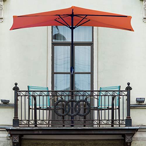 Pure Garden 50-LG1054 Half Round Patio Umbrella with Easy Crank, 9 ft, Terra Cotta