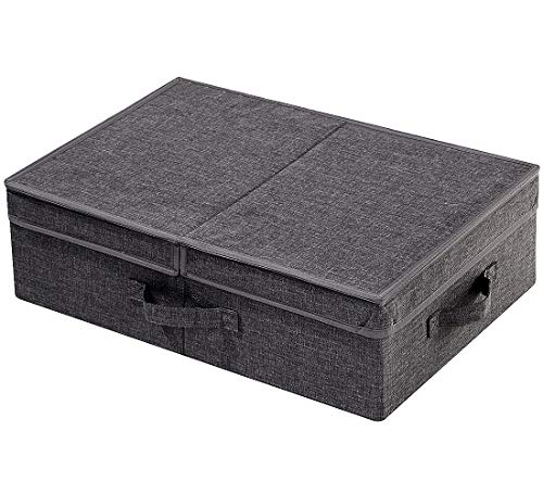 DVDs CDs Storage Box for Living Room,TV cabinet, Garment Accessories Dust proof Bins with Lid,Black Gray
