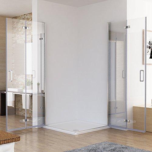 100 x 100 x 195 cm Duschkabine Eckeinstieg Dusche Falttür 180º Duschwand Duschabtrennung NANO Glas