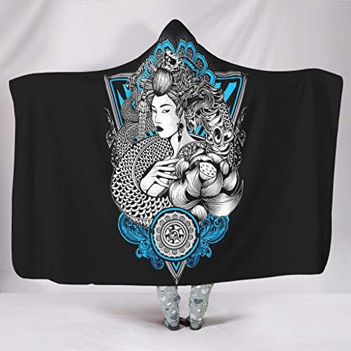 Wandlovers Vintage Japonés Geisha cráneo tatuaje impresión super suave con capucha mágico manta blanco 150 x 200 cm