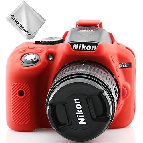 First2savvv Rojo Cuerpo Completo Caucho de TPU Funda Estuche Silicona para cámara para Nikon D5300 XJPT-D5300-GJ-T08G11