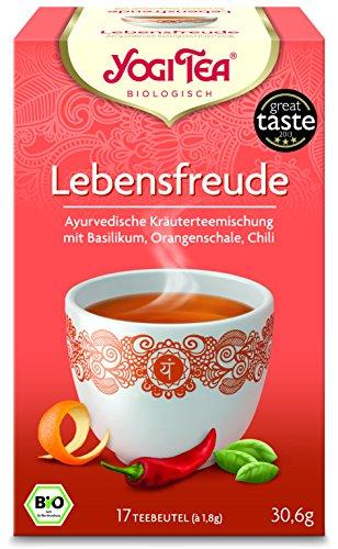 YOGI TEA® 10x Lebensfreude Bio Yogi Tee I leckere ayurvedische Gewürz-Kräuter-Tee-Mischung - mit Basilikum Orangen-Schale Chili uvm. I 170 Tee-Beutel - Bio-Qualität I Joy of Life Tea 10 Päckchen
