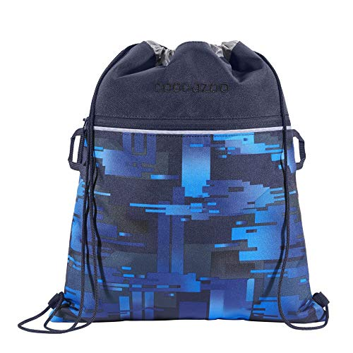 """Coocazoo Sportbeutel RocketPocket """"Deep Matrix"""", blau, mit Reißverschlussfach und Kordelzug, reflektierende Elemente, Schlaufen zur Befestigung am Schulrucksack, Jungen ab der 5. Klasse, 10 Liter"""