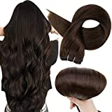 Full Shine Hair Weft Bundles Double Weft Hair Extensions Sew In Hair 24 Inch Straight Human Hair Weft Color 2 Darkest Brown Remy Hair Weave 100 Gram