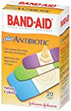 Band-Aid Brand Adhesive Bandages, Plus Antibiotic, Neon Colors, 20-Count Assorted Sizes (Pack of 2)
