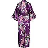 HAIGAFEW Bata De Baño Estampado De Flores para Mujer Bata De Kimono Lencería Ropa De Dormir Larga Informal Albornoz Vestido Ropa De Casa De Satén Sexy Ropa De Dormir-11
