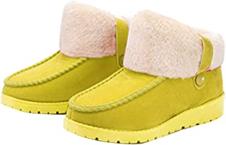 Gaorui Women Winter Slippers Warm Thermal Plush Flat Shoes Buckle Skidproof Home Snow Boots