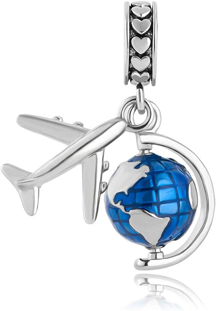 LovelyCharms Spinning Globe Aircraft Travel Globe Dangle Bead for Charms Bracelet