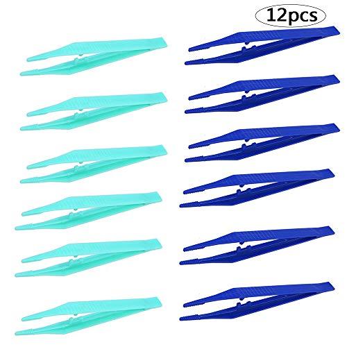 BinaryABC Disposable Plastic Tweezers Beads Medical Craft Tweezers,12Pcs(Blue and Green)