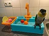 Gobabo - Vasca da bagno per uccelli, pappagalli, vasca da bagno automatica per uccelli, vasca da bagno con rubinetto, colore: blu