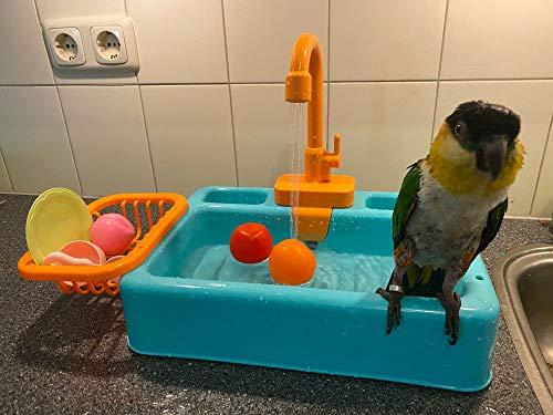 Gobabo Vogelbadewanne, Papageien, Pool, Badewanne, Vogelfutterstation, automatische Haustier-Badewanne mit Wasserhahn, Vogeldusche, Badewanne (blau)