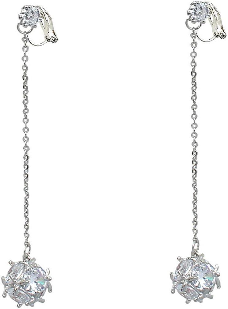 Cubic Zirconia Clip on Earrings no Pierced Soft Pads Crystal Rhinestone Dangle Simple CZ Drop Long Tassel