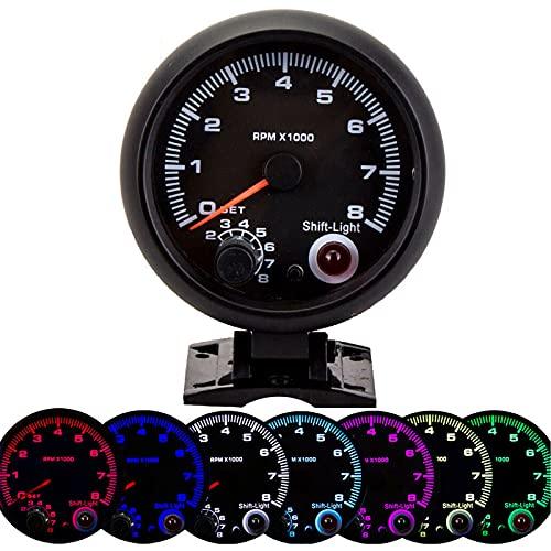 Tacómetro automático para automóvil Tacómetro, 3.75in 12V Tacómetro para automóvil 0-8000RPM Puntero Tacómetro Medidor con luz de cambio ajustable