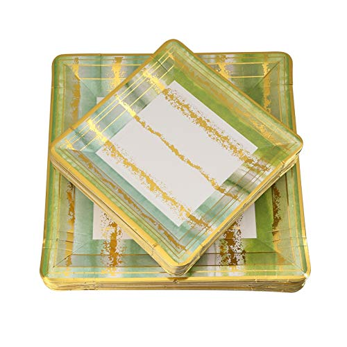 Paper Party Plates,Green Square Paper Plates, 60 Piece Disposable Plates Eco-Friendly, 30-10 inch Dinner and 30-7 inch Appetizer Square Plates, Tie-Dye Design Plates - Posh Setting