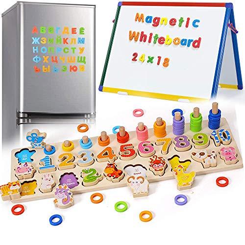 XFDZSW MALL 3 en 1 Numeros Infantiles Magnéticos de Madera para Niños Numeros Madera Magnéticos para Niños de 3 4 5 Años