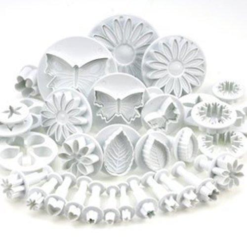 Sonline Ensemble de 33 ustensiles pour decoration de gateau/emporte-pieces avec poussoirs/tampons fleurs, feuilles et diverses formes par DIKIT TM