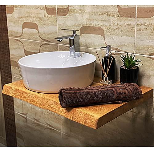 Waschtischplatte aus Holzplatte Massiv Eiche, Baumkante Geölt Waschtisch Holz, Waschtischkonsole für Aufsatzwaschbecken und Waschschalen, Badmöbel Tischplatte, Badezimmer möbel (70 x 50 cm)