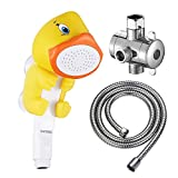 Product Image of the KAIYING Children's Handheld Shower Head,Cartoon Water Flow Spray Shower Head Baby Kids Toddler Bath Play Bathing Toys (I :Showerhead(Duckie)+Hose+Diverter)