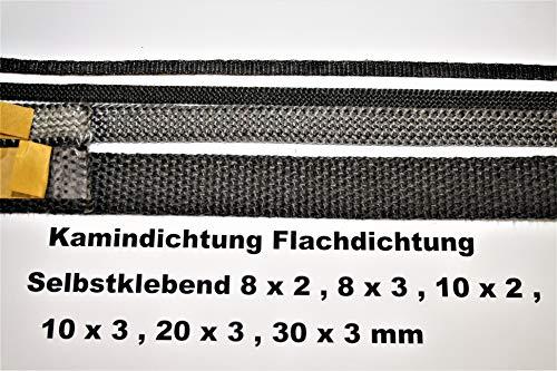 3m Kamindichtung selbstklebend 8x2mm Dichtband Glas Tür Kamin Ofen Dichtung