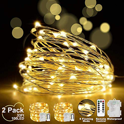 LED fairy String Lights with Remote Control - 2 Set 100 LED 33ft/10m Micro Silver Wire Indoor Battery Operated Firefly String Lights for Garden Home Party Wedding Festival Decorations(Warm White)
