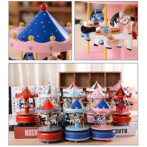 selfdepen Hölzerne Karussell-Spieluhr, handbemalt, umweltfreundlich ungiftige Sprühfarbe Sky City konische Klassische Spieluhr Geburtstagsgeschenk - 2