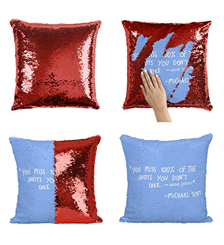 Office The TV Show Michael Scott Shot Quote_MA0014 Sequin Pillow Cuscino, Funny Throw Covers, Sequins Pillows, Weird Stuff, Unicorn, Flip Mermaid Scales Reversible (Cover + Insert)