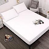 DSman Funda de colchón Anti chinches, Transpirable, Sábana Impermeable a Prueba de orina Pure Color-White_180cmX200cmX30cm