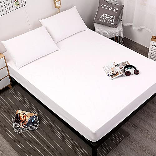 DSman Funda de colchón Anti chinches, Transpirable, Sábana de Cama Impermeable a Prueba de orina Pure Color-White_Twin_39X75 + 18