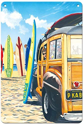 Beach Cruiser Kids Retro en la playa con tablas de surf Cartel de pared de hojalata Señal de advertencia Placa de hierro de metal retro Pintura Arte Decoración para el hogar Pub Oficina 30x20cm
