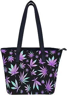 Ktewqmp Cannabisblätter Damen Handtasche Leder Large Schultertasche Frau Aktentasche Handtasche Shopper Arbeit Handtasche