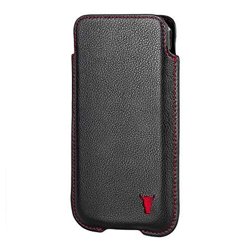 TORRO Funda Calcetín Compatible con Apple iPhone 12 - Estuche de Cuero Genuino de Calidad [Perfil Delgado y Ligero] (Negro)