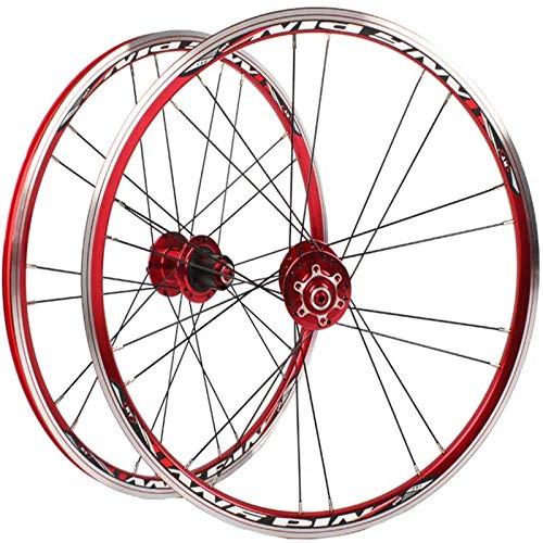 TYXTYX Juego de Ruedas de Bicicleta de 20 Pulgadas, Rueda de Bicicleta Rueda Delantera de Doble Pared Rueda Trasera Ruedas de Bicicleta MTB Frenos en V Aleación de Aluminio Llanta de rodamiento PAL
