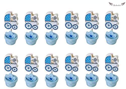 Acobonline 12 Piezas, Pinza madera bautizo de niño, Ideal para Comunión,Bautizo,Boda,Recuerdos,Cumpleaños,Fiesta,Viaje,Invitadas-Baby (Azul, Carro)