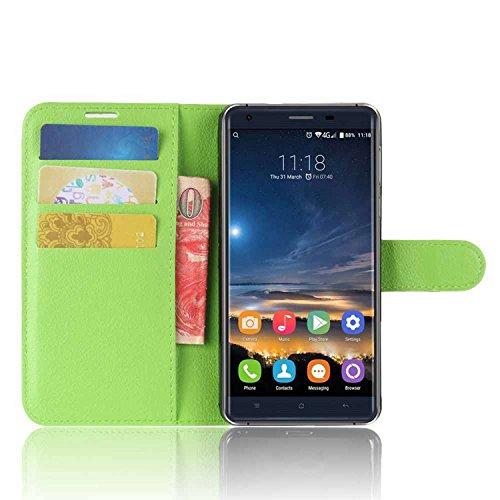 Tasche für Oukitel K6000 Pro Hülle, Ycloud PU Kunstleder Ledertasche Flip Cover Wallet Case Handyhülle mit Stand Function Credit Card Slots Bookstyle Purse Design grün