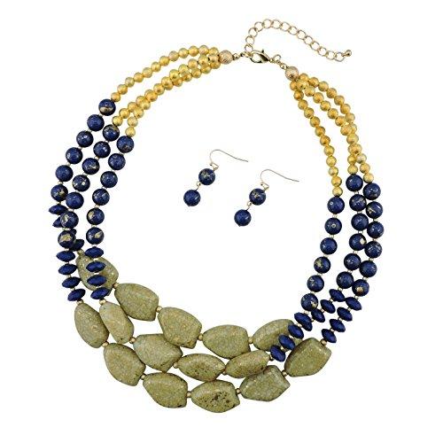 Bocar set di orecchini e collana multistrato con grosse perle, alla moda, da donna e placcato Oro, colore: blue+gold tone, cod. NK-10204