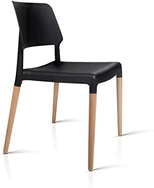 4 x Artiss Belloch Dining Chairs, Stackable Wooden Plastic Kitchen Chairs, Black