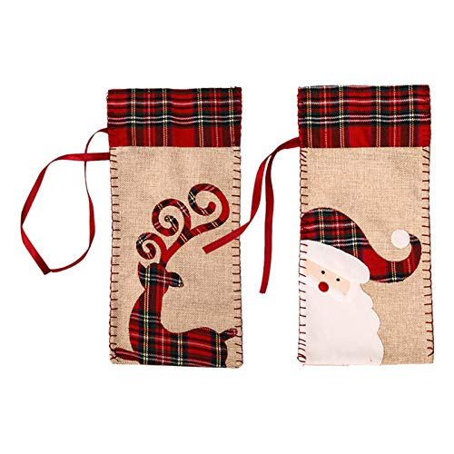 LSONE Funda para Botella de Vino navideña, Bolsas de Regalo de arpillera para Vino, diseño de Reno de Papá Noel, Funda para Vestido de Botella de Vino, suéter, Bolsas con cordón (2 Piezas)