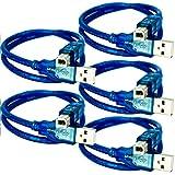 AZDelivery 5 pcs Cable Azul USB-B a USB-A compatible con UNO R3 y Mega 2560 para cualquier Placa de Desarrollo y Microcontrolador de Arduino