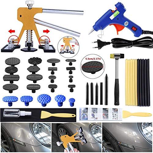 Randalfy Kit de Extractor de abolladuras automático Herramientas de reparación de Levantador de abolladuras sin Pintura Doradas Ajustables para carrocería de automóvil Gran y pequeña abolladura