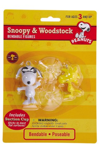 Peanuts Snoppy ( Joe Cool) & Woodstock Bendale Figures with Suction Cups