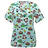 wxdsnh maglietta stampata natalizia da infermiera con scollo a v manica corta t-shirt da donna