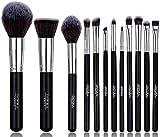 Set de pinceles de maquillaje. Incluye Brocha para Polvo, Brocha Kabuki, Brochas para Sombra de Ojos, Brocha para difuminar, Brocha para Cejas, Brocha para Delinear Ojos y más [12 brochas]