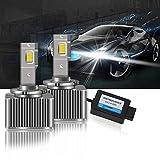 OPL5 Lampadine D3S LED, 2020 Versione Aggiornata 100% Canbus D3S LED Fari Lampadine può Sostituire la Xenon OEM Lampadina, 8600LM 70W 6000K Bianco Estremamente Luminoso Conversione Kit (2 Pezzi)…