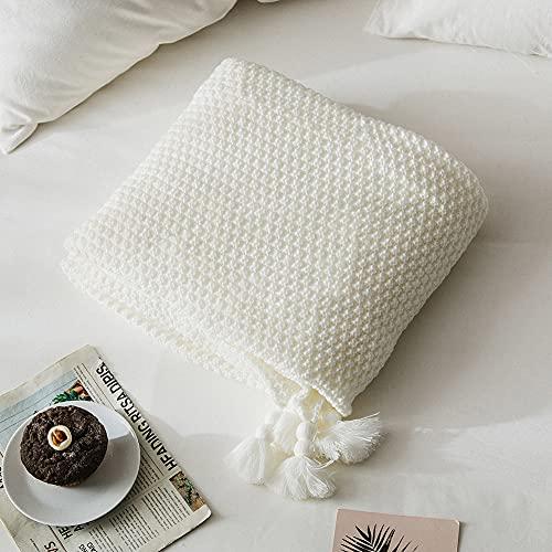 MYLUNE HOME Boho Handgemachte Strickdecke, Kuscheldecken für Sofa / Bett & als Zudecke, 127x152cm, Weiß