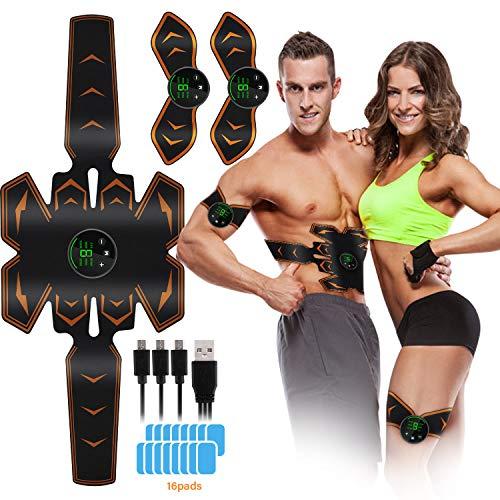 Lovebay EMS Muskelstimulation Bauchmuskeltrainer Muskelstimulation USB Wiederaufladbar Elektrostimulatoren für Damen Herren