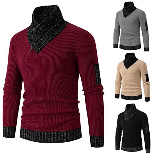 Freenfitmall Suéter de cuello alto ajustado para hombre con estilo jersey de punto casual camiseta de algodón raglán camisas, granate, M