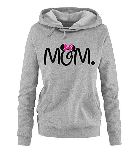 Comedy Shirts - MOM. Minnie - Damen Hoodie - Grau / Schwarz-Pink Gr. M