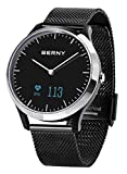 BERNY Smart Watch Hybrid Smartwatch with Real Watch Hands and Hidden OLED Display, Sleep and Heart Rate Monitor Smartphone Notifications Message Previews - Minimalistic Silver Black