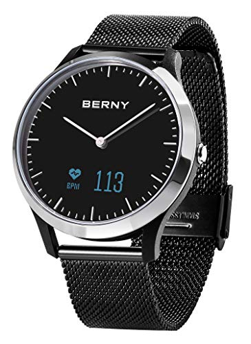 BERNY Hybrid Smartwatch for Men and Women, Waterproof Fitness Tracker Hybrid Watch Sleep and Heart Rate Monitor Smart Watch - Compatible with iPhone and Android - Silver Black