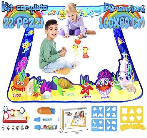 Acqua Doodle Tappeto Magico Bambini 100x80 Giochi Bambina 3 4 5 6 Anni Idee Regalo Compleanno Bambino Lavagna Cancellabile Educativi Set Pennarelli Lavabili Punta Grossa Timbri Disegno Colori